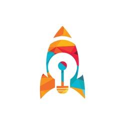 Rocket bulb vector log design. Rocket launching bulb Light bulb logo design.