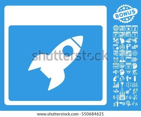 rocket calendar page pictograph
