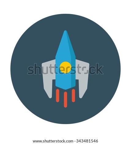 rocket colored vector icon