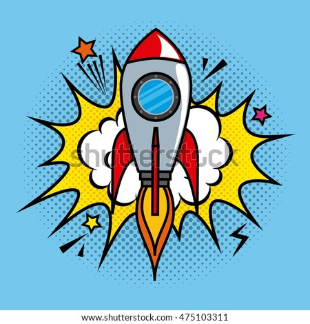 rocket comic pop art vector illustration design