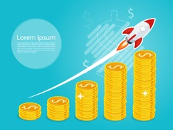 rocket fast start up launch,growing business growth step graph,business gold coin flag vector