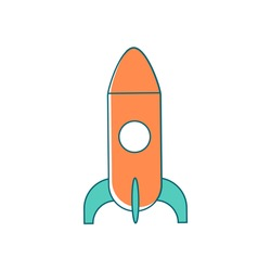 Rocket flat color vector object. Startup launch. Innovative technology. Fast spaceship. Cosmos science. Space shuttle isolated cartoon illustration for web graphic design and animation