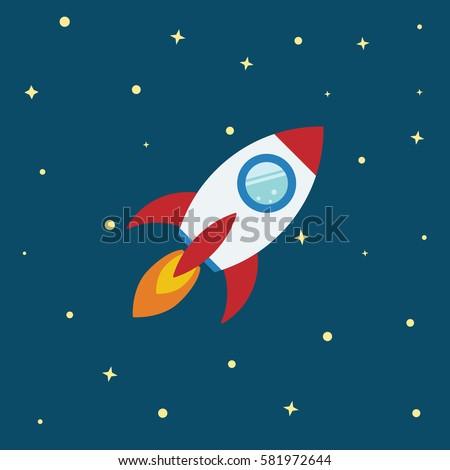 rocket flat design concept for