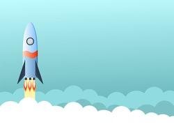 Rocket flies above the clouds, vector graphics