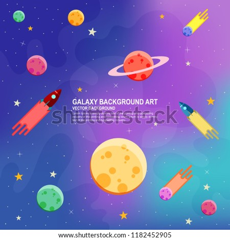 Rocket flies through in space. Vector illustration. Spacecraft, Earth and Moon