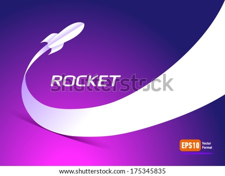 rocket fly takeoff space ship silhouette element cosmos violet background