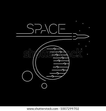Rocket flying in the outer space line vector illustration