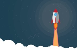 Rocket flying over cloud,business concept.