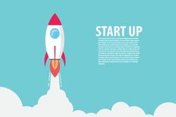 Rocket flying over cloud,Rocket launch. Business startup concept.