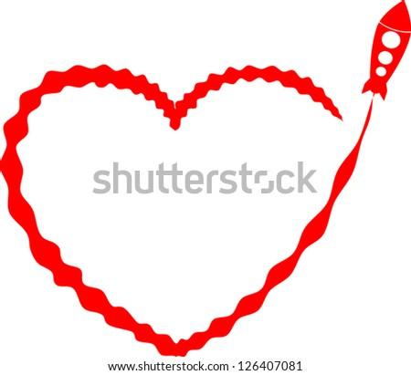 rocket heart shaped trail