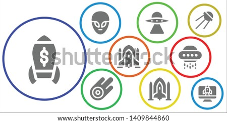 rocket icon set. 9 filled rocket icons.  Collection Of - Rocket, Alien, Aliens, Asteroid, Spaceship, ship, Ufo, Sputnik, Startup