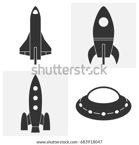 Rocket icons. Set of vector illustrations. Various spacecraft: carrier rocket, shuttle, flying saucer. Black contours of space ships isolated on white. Startup logo template.