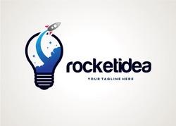 Rocket Idea Logo Template Design Vector, Emblem, Design Concept, Creative Symbol