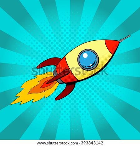 Rocket in retro pop art style. Space rocket  in pop art style on a blue background. Vector illustration.