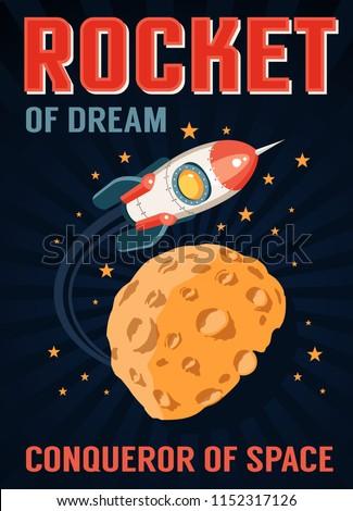 rocket in space flies over a