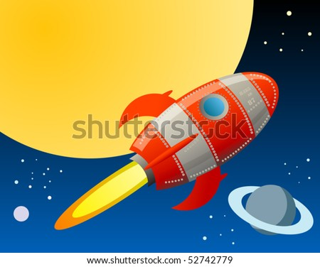 Rocket in space, vector illustration