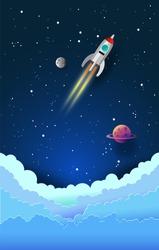 rocket in the sky ,paper art style , start up concept ,vector design