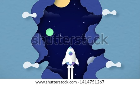 Rocket is flying in space. Art craft design in paper cut style. Decoration object on pantone background for kid cover book, startup business magazine and advertisement.