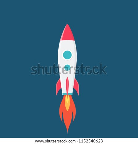 rocket is flying on the sky