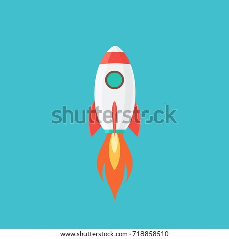 Rocket is flying on the sky,start up concept