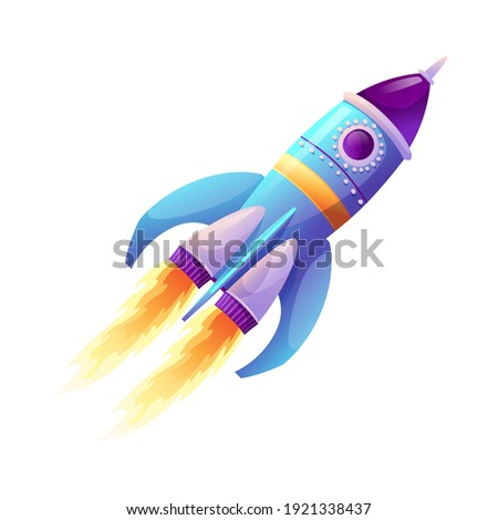 Rocket launch and fire flame, spaceship startup isolated spacecraft liftoff cartoon icon. Vector boosters in flight. Start of business, new project symbol. Takeoff of rocketship, spacecraft on speed