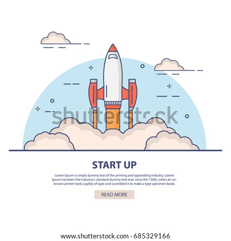 Rocket launch.Cartoon illustration of rocket ship space.Startup new business project concept creative idea.Flat linear style vector