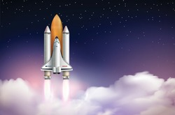 Rocket launch composition with realistic landscape above clouds with stars and space shuttle on launch vehicle vector illustration