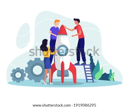 Rocket launch concept. People prepare rocket for launch, Teamwork and startup concept. Business people launching business project startup, Business strategy successful. Vector illustration flat style