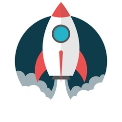 Rocket launch, Flat design, vector illustration, isolated on white background