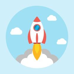 Rocket launch icon flat