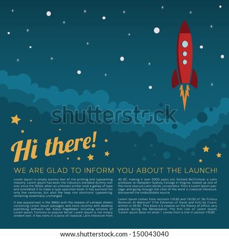 rocket launch in space vector