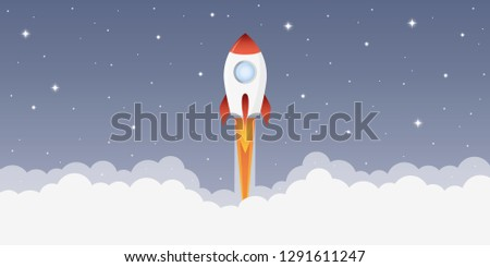 rocket launch into space with starry sky vector illustration EPS10 Сток-фото ©