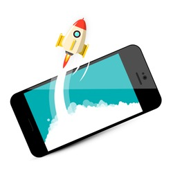 Rocket Launch on Mobile Phone. Business Startup Vector Symbol.