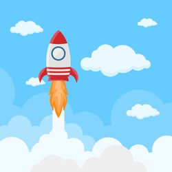 Rocket launch on space in flat style. Space ship startup in sky. Science innovation report. Space shuttle lift off on cloud. vector illustration
