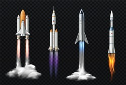 Rocket launch realistic set with isolated images of space mission rockets with smoke on transparent background vector illustration