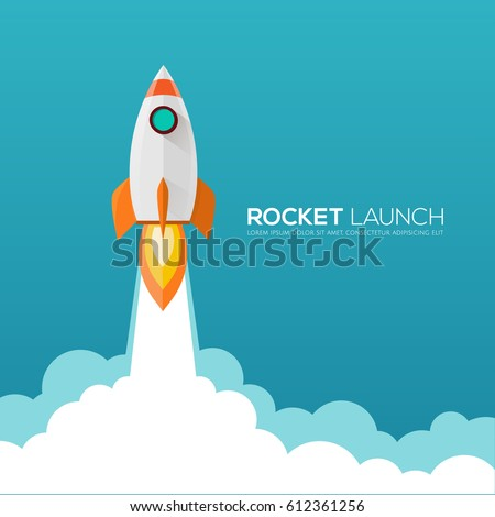 Rocket launch,ship.vector illustration concept of business  launch product on a market.