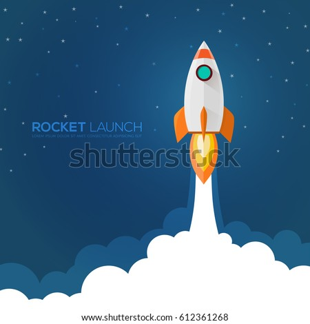 Rocket launch,ship.vector, illustration concept of business product on a market.
