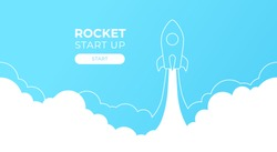 Rocket launch silhouette in the sky flying over clouds. Space ship in smoke clouds. Business concept. Start up template. Horizontal background. Simple modern design. Flat style vector illustration.