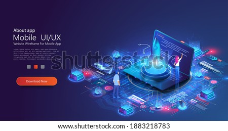 Rocket launch start up creative idea and computer digital diagrams. Innovation, success creative solution concept. Landing page template. People presentation new business project start up on laptop