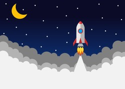 Rocket launch. Vector, concept of an illustration of a business product on the market startup. Start up Simple Rocket web design, Responsive web design flat vector, design technology template