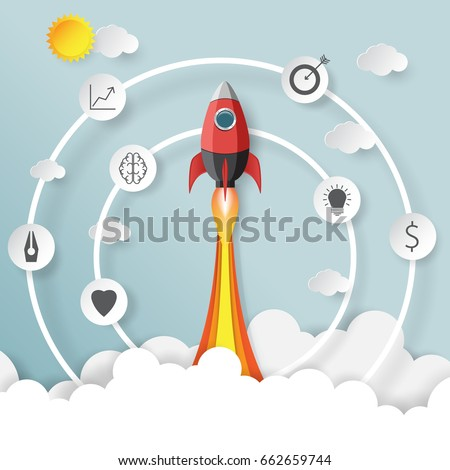 Rocket launch.With start up business creative idea concept paper art style.Vector illustration.