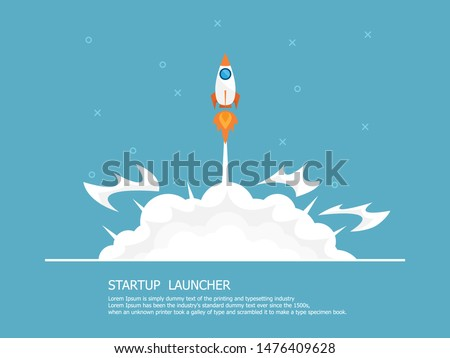 rocket launcher, business startup concept vector illustration flat design