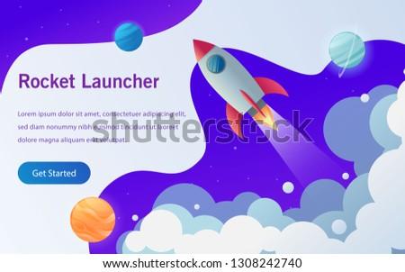 rocket launcher landing page vector design illustration