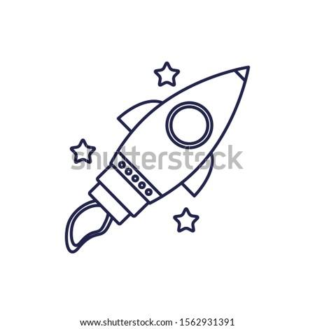 rocket launcher universe line style icon vector illustration design