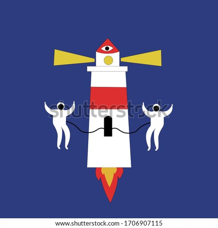 rocket lighthouse in space  on