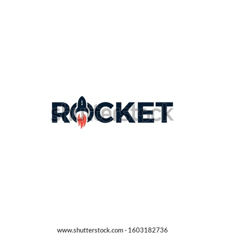 Rocket logo design with the Rocket icon in the letter O