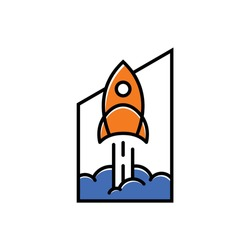 rocket logo launches with the concept of a building