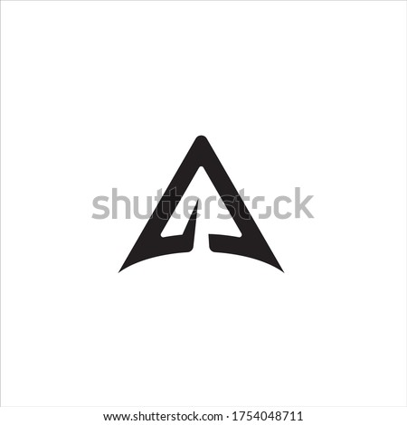Rocket logo or triangular line rocket company vector icon. Rocket logo or triangular line rocket company program on black