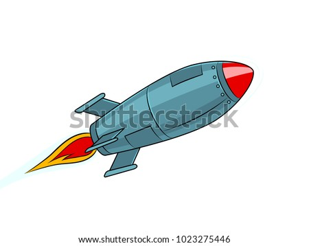 Rocket missile flying pop art style vector illustration. Isolated image on white background. Comic book style imitation. Vintage retro style.