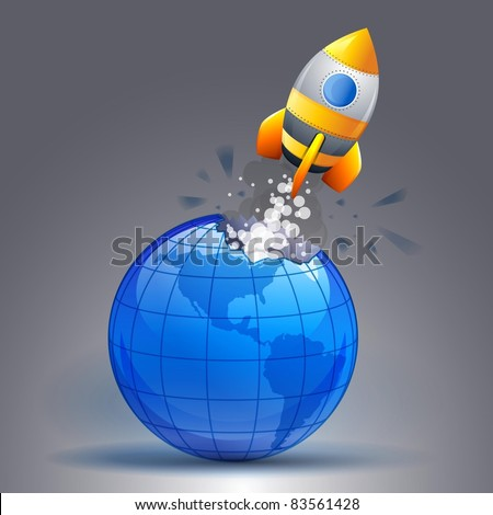 Rocket moving through the Earth
